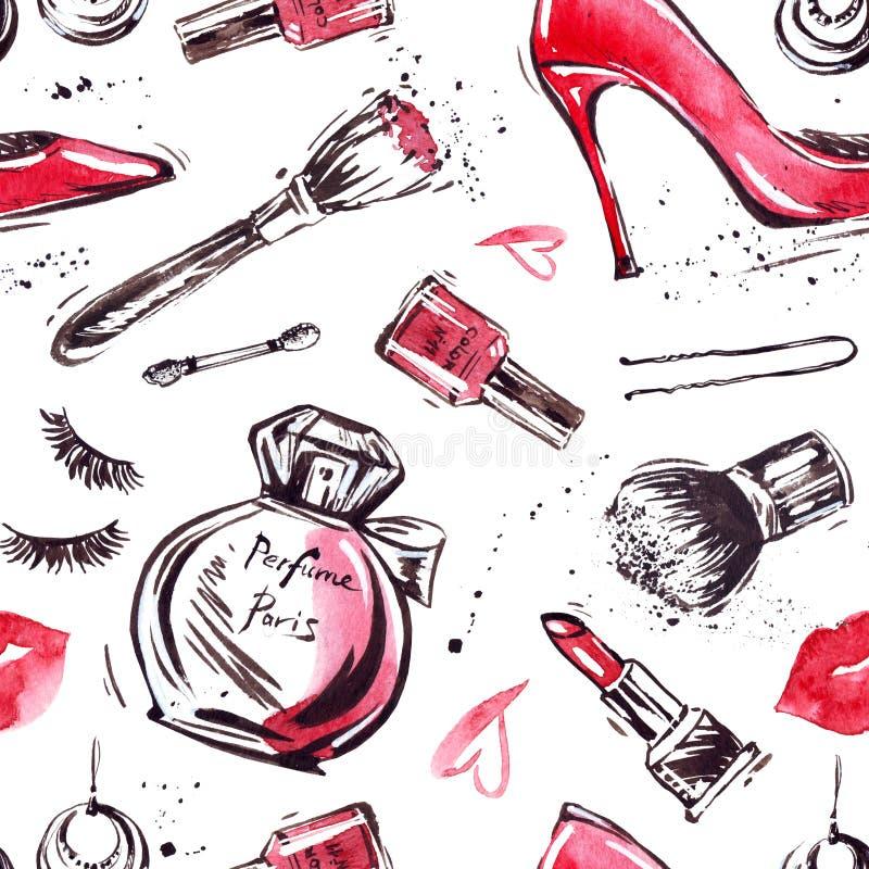 Fascinant composez le modèle sans couture avec le vernis à ongles et le rouge à lèvres Conception cr?ative pour la carte, fond de illustration de vecteur