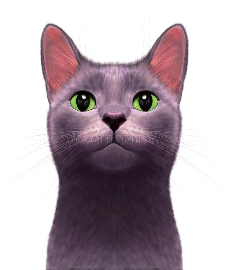 Fascinated curious cat royalty free illustration