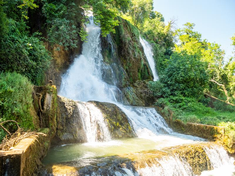 Fascinating and interesting walk through the waterfalls park in the city of Edessa, Greece.  royalty free stock photography