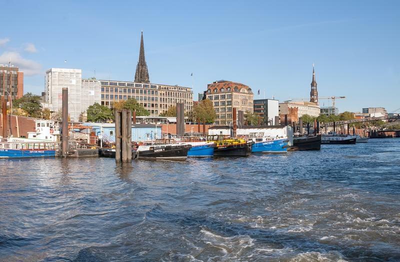 Hamburg, Germany. View of city and port from Elbe. royalty free stock photo