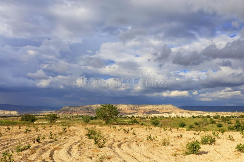Fascinating landscape of mountain valleys of Cappadocia against the backdrop of thunderstorm clouds of lead-blue sky. Small grape bushes planted on rocky ground stock images
