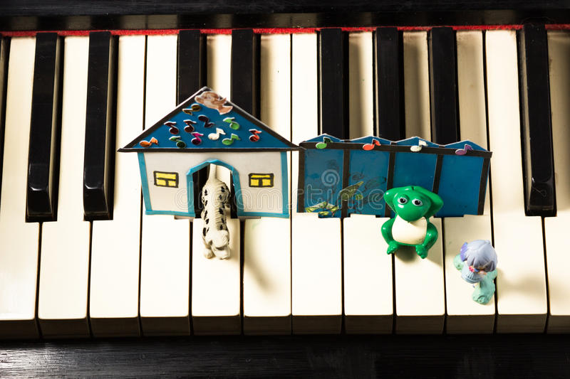 Fascinating music classes for young children. School piano stock image