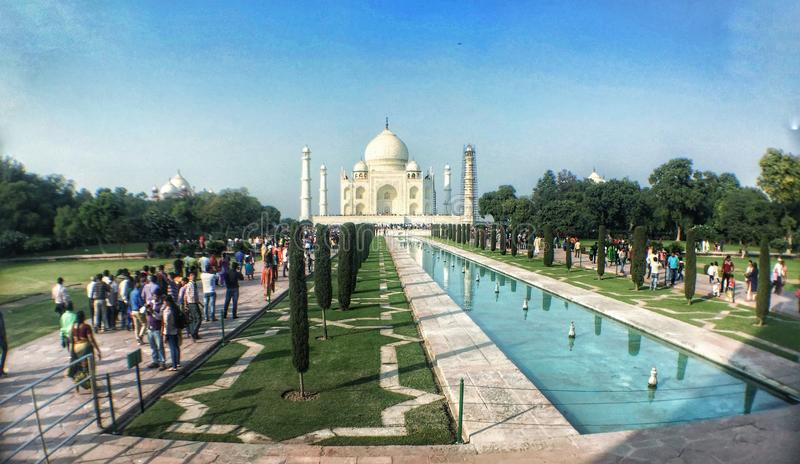 The fascinating of Taj Mahal. A visit to one of the famous in India, the fascinating Taj Mahal royalty free stock photo