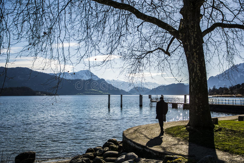 Fascinating view of Lucerne Lake in Switzerland royalty free stock image
