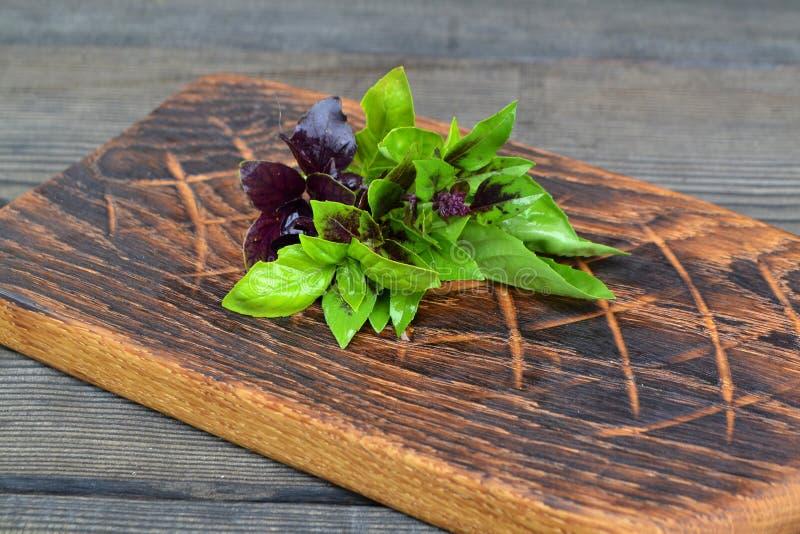 Fascio di basilico porpora e verde sul tagliere rustico Alimento crudo fresco dell'ingrediente delle erbe Erba del basilico immagine stock libera da diritti