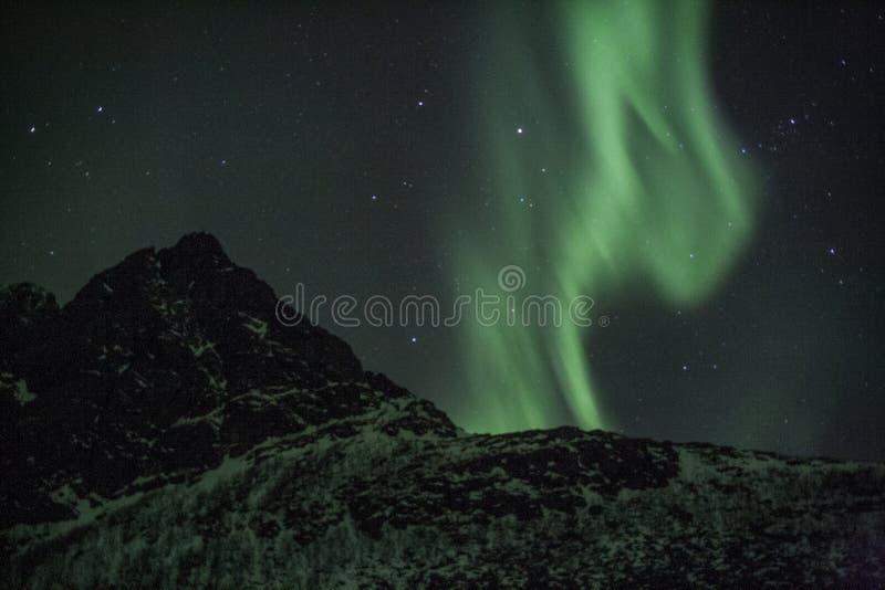 Fascio verticale di aurora boreale fotografia stock