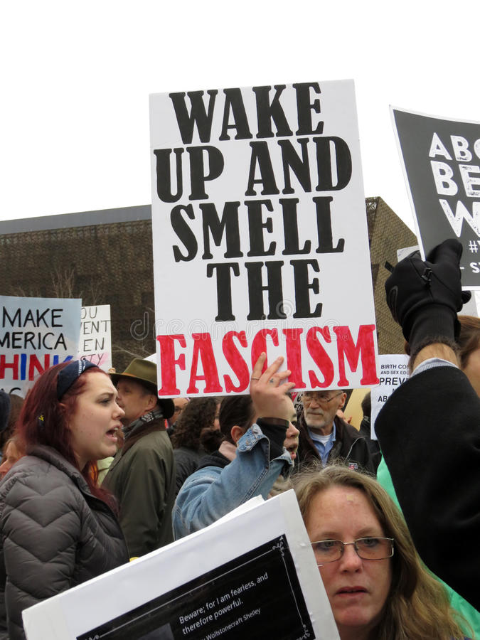 Fascism Poster at the March stock images
