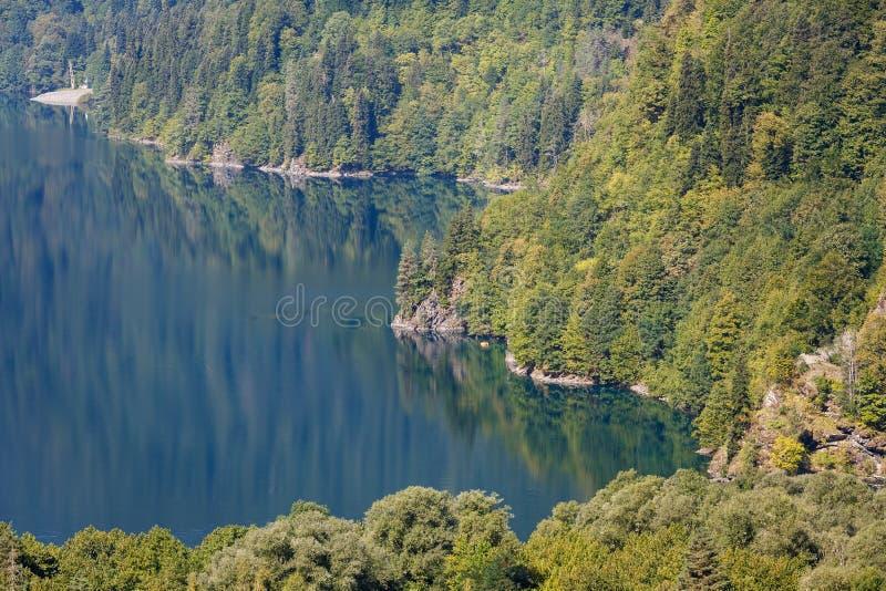 Fascynujący krajobraz pokazuje naturalnego piękno Jeziorny Ritsa, Abkhazia zdjęcia stock