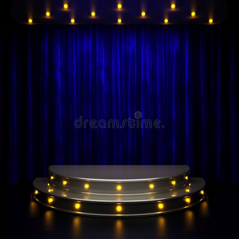 Fase azul da cortina com luzes ilustração do vetor