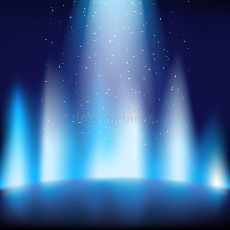Fase azul vazia com um fundo escuro, iluminado por um brilhante ilustração royalty free