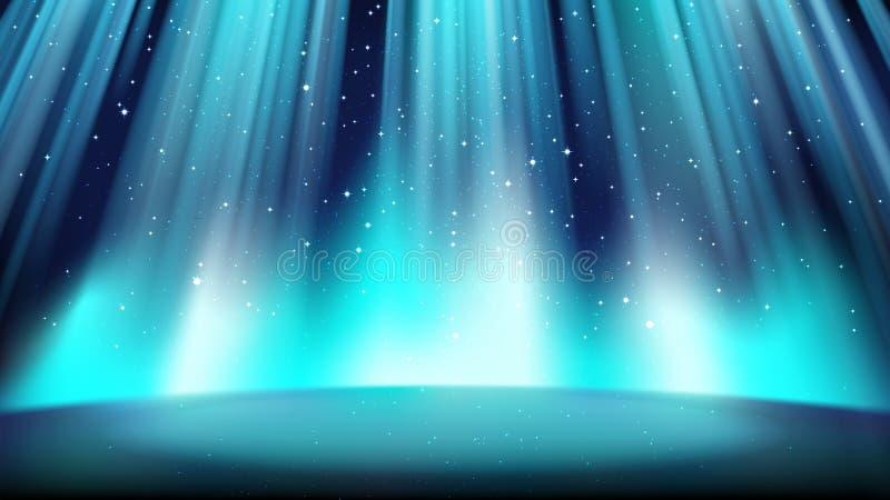 Fase azul vazia com um fundo escuro, iluminado por um projetor brilhante ilustração stock