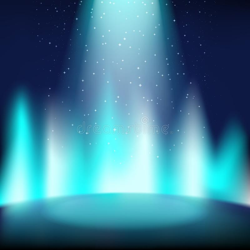 Fase azul vazia com um fundo escuro, iluminado por um projetor brilhante ilustração royalty free