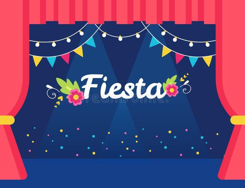 Fase com bandeiras e festões das luzes e sinal da festa Partido do tema ou convite mexicano do evento ilustração royalty free