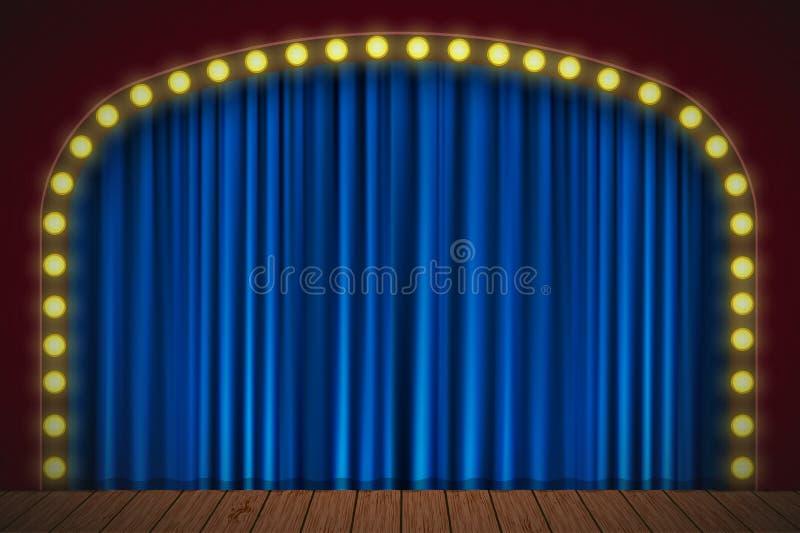 Fase com cortina azul ilustração stock