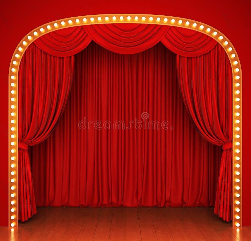 Fase com cortina e luzes vermelhas ilustração royalty free