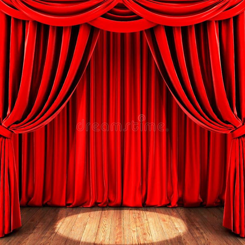 Fase com cortina vermelha e o assoalho de madeira ilustração royalty free