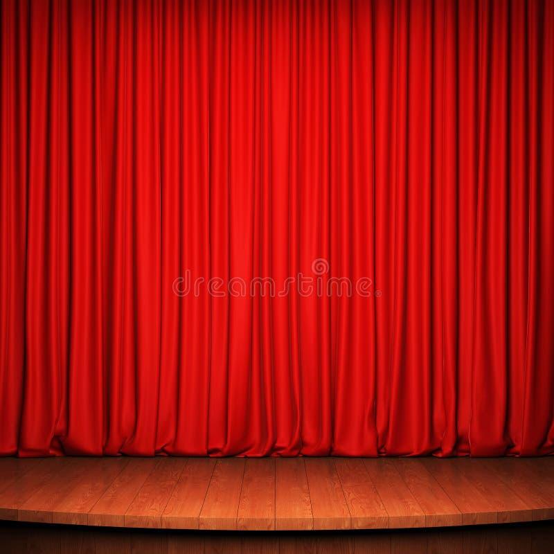 Fase com cortina vermelha e o assoalho de madeira ilustração do vetor