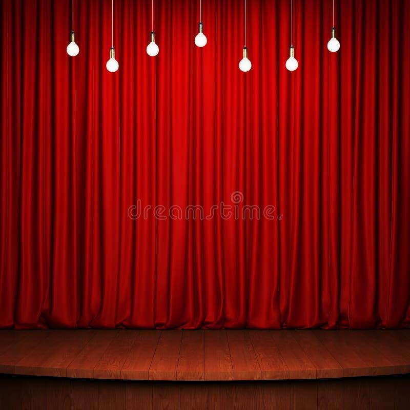 Fase com cortina vermelha, o revestimento de madeira e as ampolas ilustração do vetor