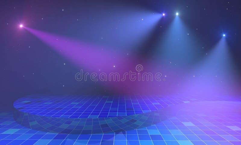 Fase com luzes e estrelas ilustração do vetor