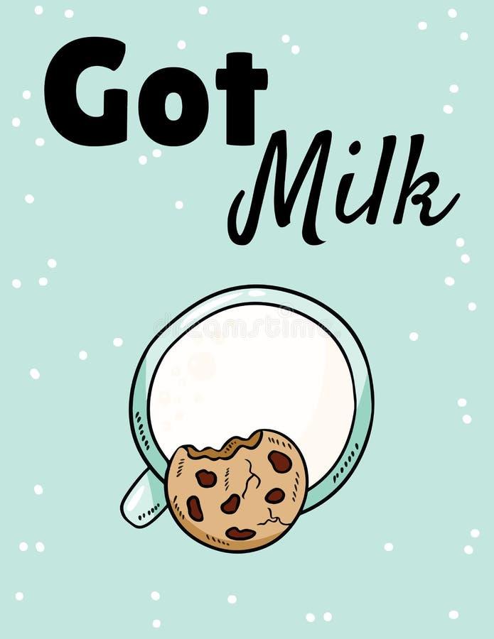 Fase conseguida de la leche con leche y la galleta Comida dulce y nutritiva del desayuno Postal linda del estilo exhausto de la h libre illustration
