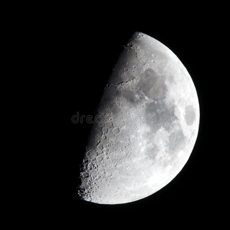 Fase de la luna del primer trimestre foto de archivo libre de regalías