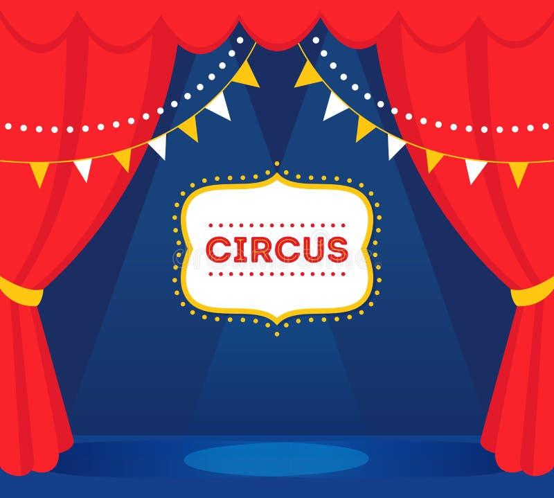 Fase del circo con le luci, le tende rosse ed il segno della tenda foranea Disegno di vettore royalty illustrazione gratis