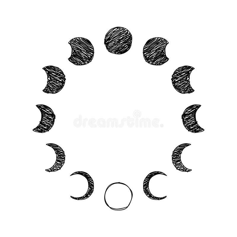 Fase del sistema del icono del garabato de la luna, fase lunar Vector ilustración del vector