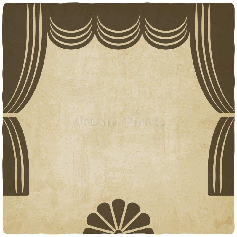 Fase del teatro con il vecchio fondo delle tende illustrazione di stock