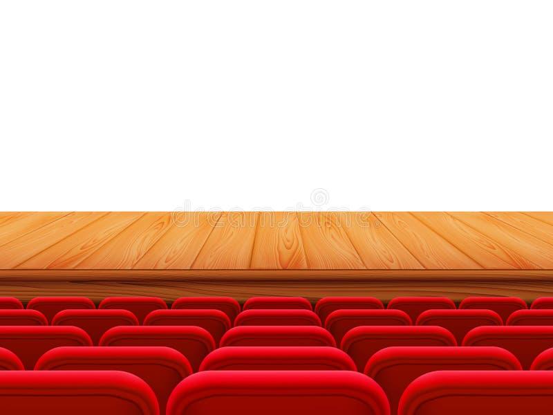 Fase del teatro realistico o pavimento di legno con le file dei sedili rossi, vista posteriore Posti vuoti nel corridoio del cine royalty illustrazione gratis