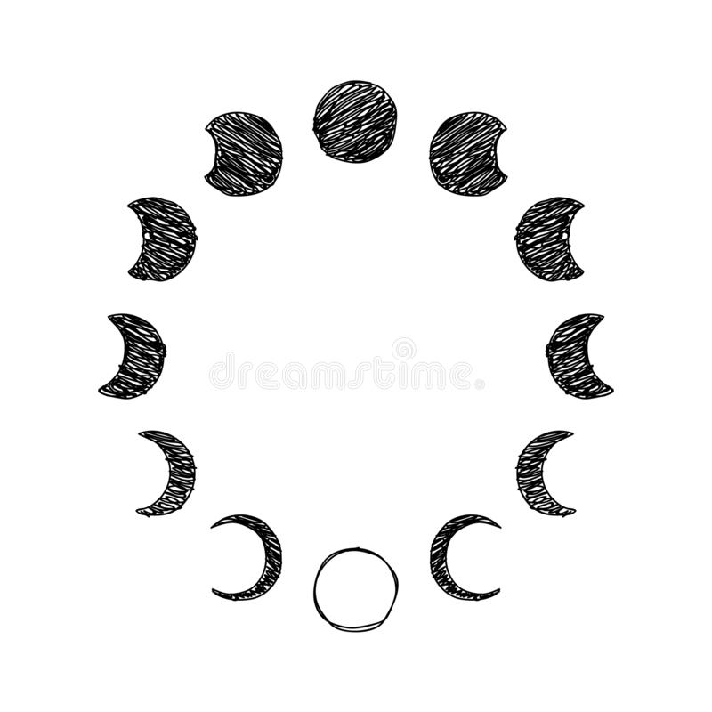 Fase dell'insieme dell'icona dello scarabocchio della luna, fase lunare Vettore illustrazione vettoriale