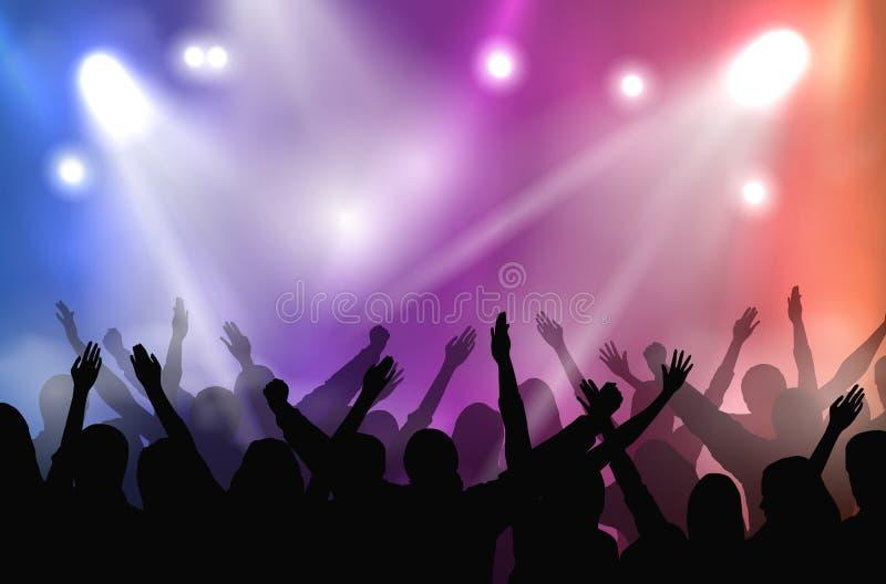 Fase di concerto di vettore illuminata con le luci variopinte e le siluette della folla incoraggiante royalty illustrazione gratis