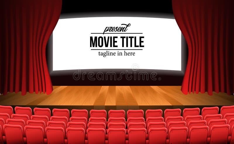 Fase di film del teatro di vista frontale con la tenda rossa ed i sedili rossi vuoti di legno e del pavimento illustrazione vettoriale