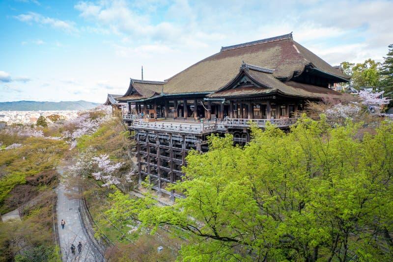 Fase di Kiyomizu-dera con il fiore di ciliegia immagine stock