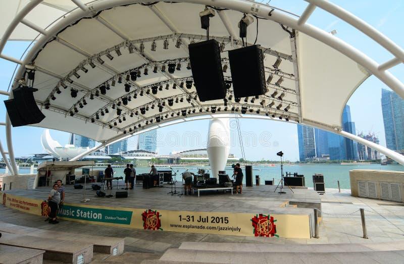 Fase di musica a Marina Bay a Singapore fotografia stock