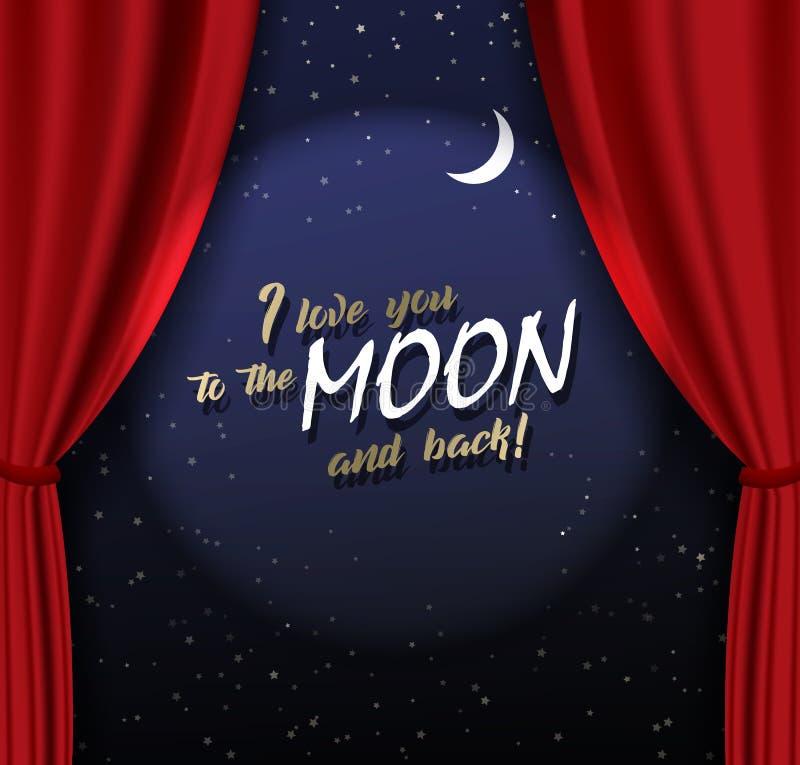 Fase di Teather con la tenda pesante rossa con testo e la luna dorati royalty illustrazione gratis