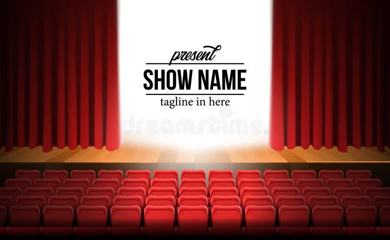 Fase do filme do teatro da vista dianteira com cortina vermelha e assentos vermelhos de madeira do assoalho e os vazios ilustração stock