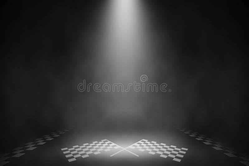 Fase do fumo do projetor no meta de competir a estrada ilustração do vetor