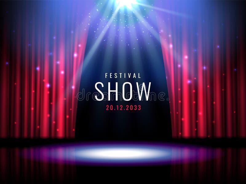 A fase do teatro com cortina vermelha e o projetor Vector o molde festivo com luzes e cena Projeto do cartaz para o concerto ilustração royalty free