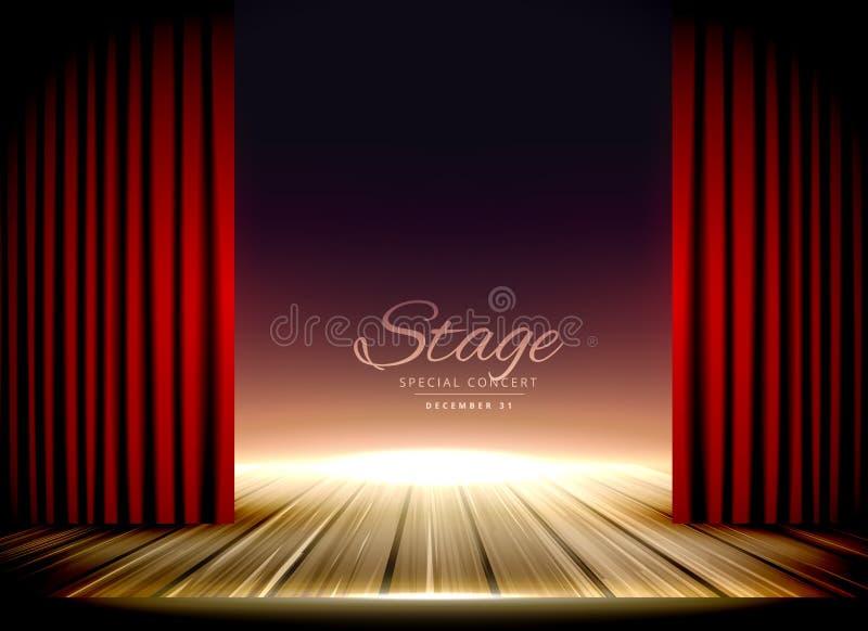 Fase do teatro com cortinas vermelhas e o assoalho de madeira ilustração do vetor