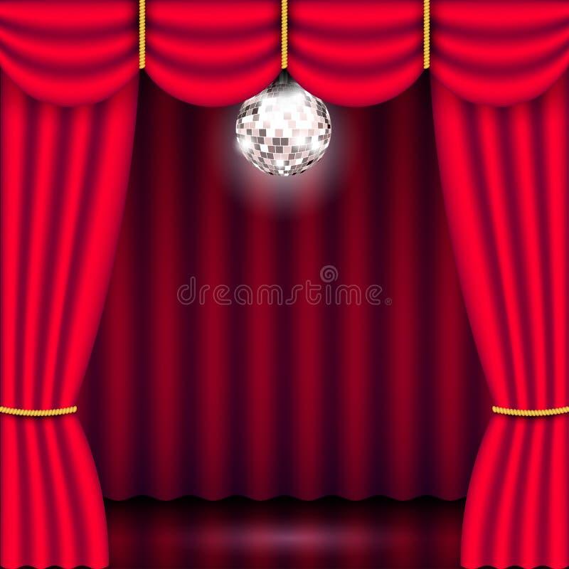 Fase do teatro, cortina vermelha e bola do espelho ilustração do vetor
