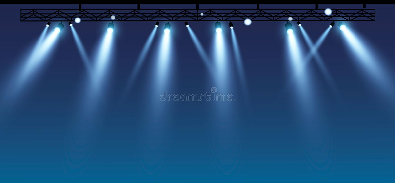 Fase do vetor com grupo de projetores azuis Luzes azuis da fase esp 10 ilustração royalty free