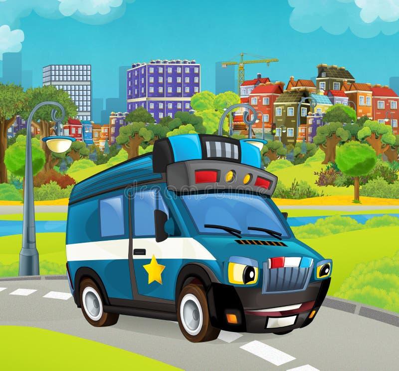 Fase dos desenhos animados com cena colorida e alegre do caminhão do carro policial ilustração do vetor