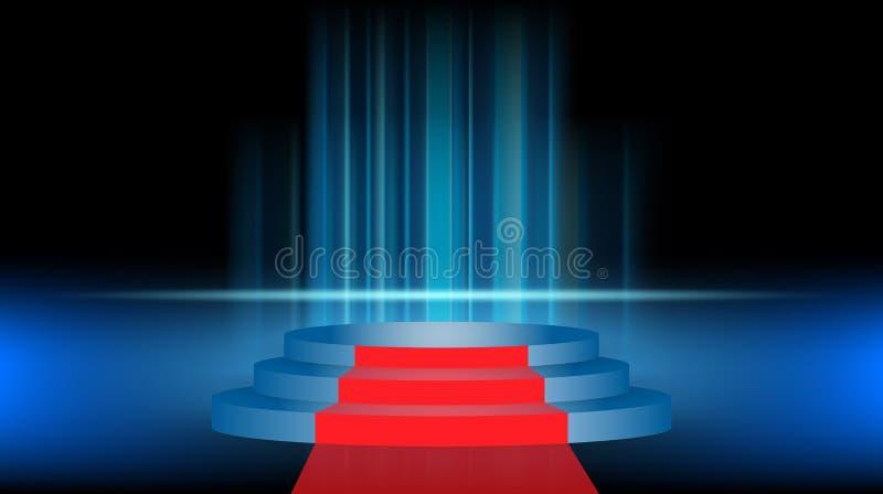 Fase e apresentação do produto com luz do esporte no fundo escuro e azul do estúdio da sala de exposições ilustração do vetor
