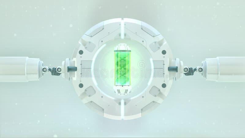 Fase futurista com a cápsula redonda do verde do quadro com ADN nele Fundo futuro conceito da tecnologia da ficção científica da  ilustração stock