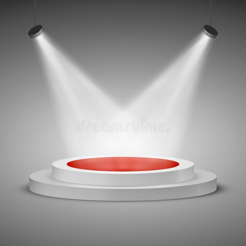 Fase illuminata con proiettori Scena festiva illuminata del podio della fase con tappeto rosso per cerimonia di premiazione Illus illustrazione di stock