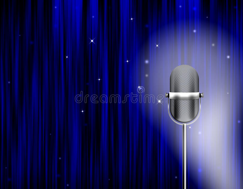 A fase ilumina a cortina do azul do microfone ilustração do vetor