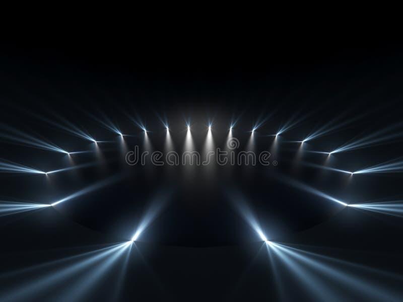 Fase livre com luzes, dispositivos de iluminação ilustração royalty free