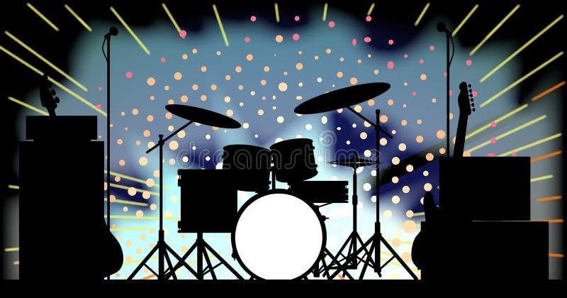 Fase luminosa della banda rock illustrazione di stock