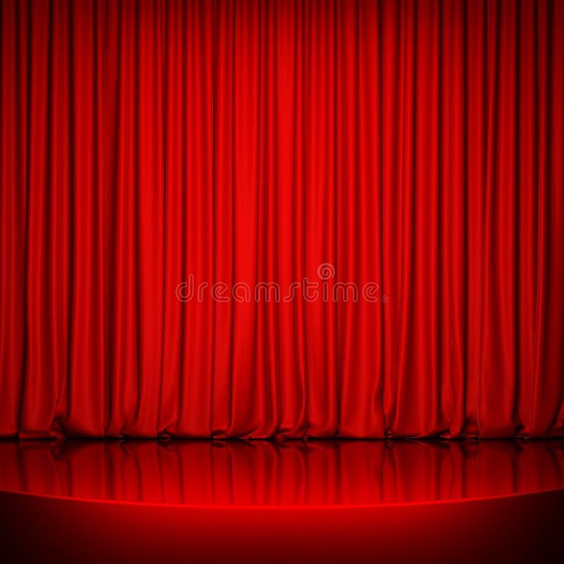 Fase lustrosa vermelha com cortina vermelha ilustração royalty free