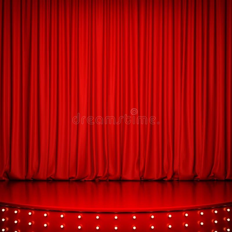 Fase lustrosa vermelha com iluminação e cortina vermelha ilustração royalty free